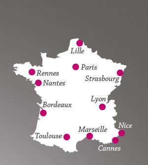 carte de france avec les 5 plus grandes villes